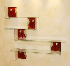 glass shelves may have different finishes opacities textures and colors smooth transparent designs are easy to maintain maximize luminosity and blend