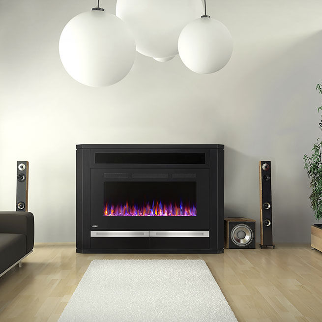 Electric Fireplace Contemporary Closed Hearth Free Standing