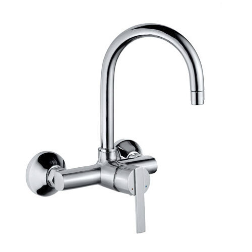 Wall Mounted Mixer Tap Chromed Metal Kitchen 1 Hole Fonte