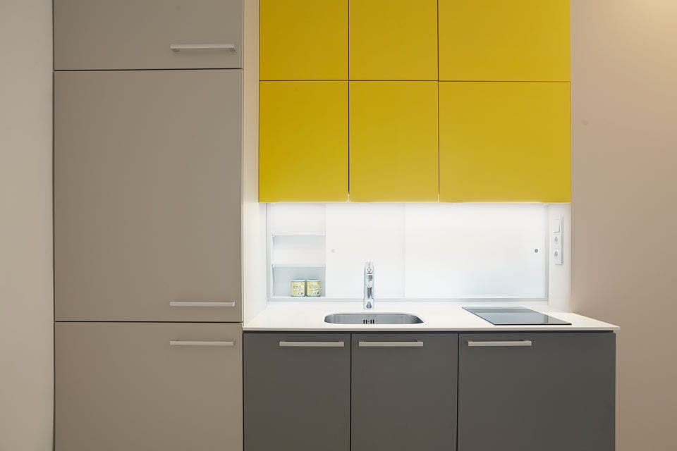 Contemporary Kitchen Laminate Hidden Lacquered Yellow And Grey