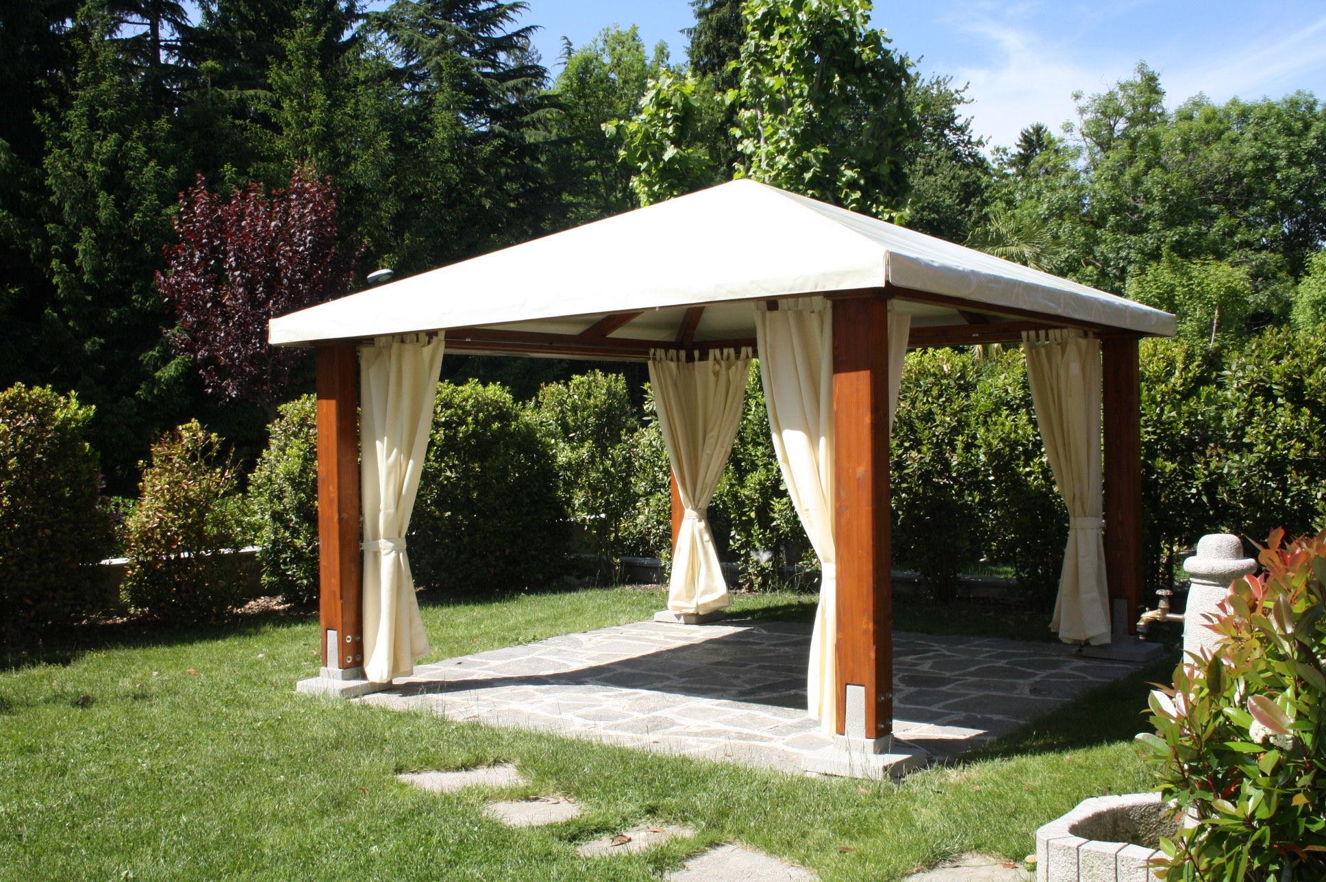 Wooden Gazebo Fabric Roof Classic Proverbio Outdoor Design