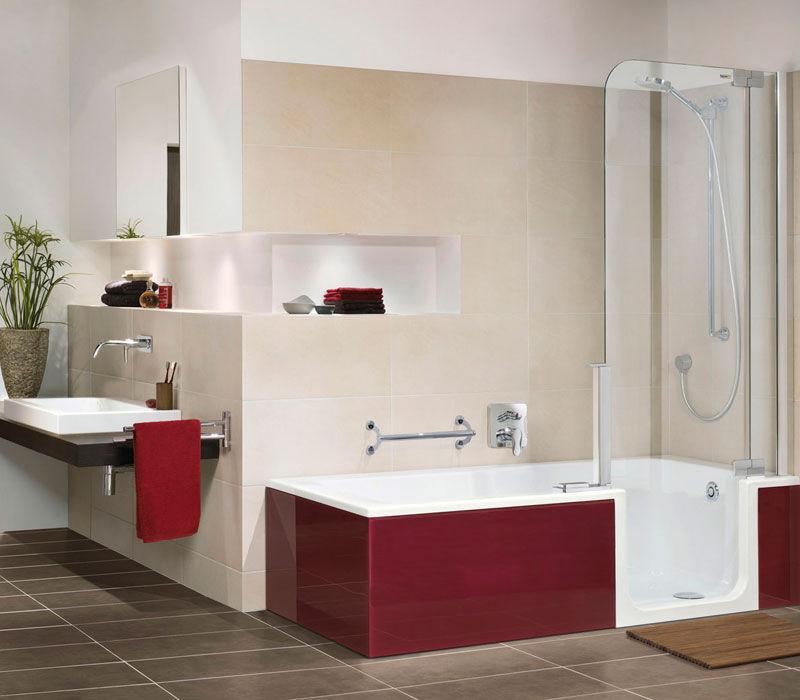 Built-in bathtub-shower combination / rectangular / acrylic / walk ...