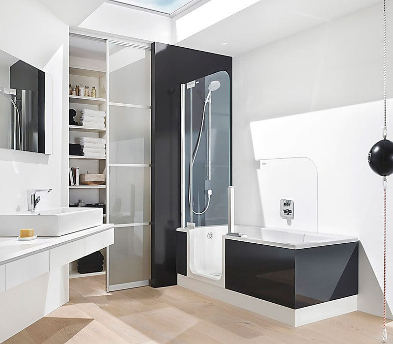 Built-in bathtub-shower combination / rectangular / acrylic / walk ...