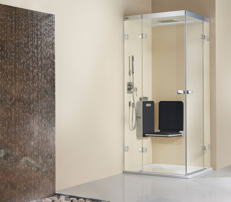 Steam shower / glass / for alcoves / with hinged door - BODY+SOUL ...