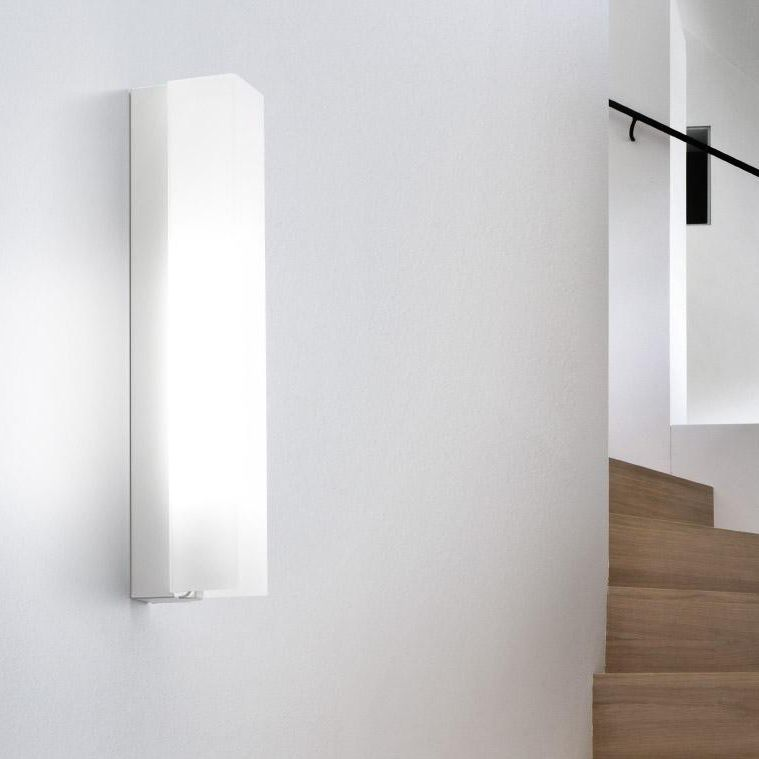 Contemporary Wall Light Painted Metal Blown Glass Led Stick