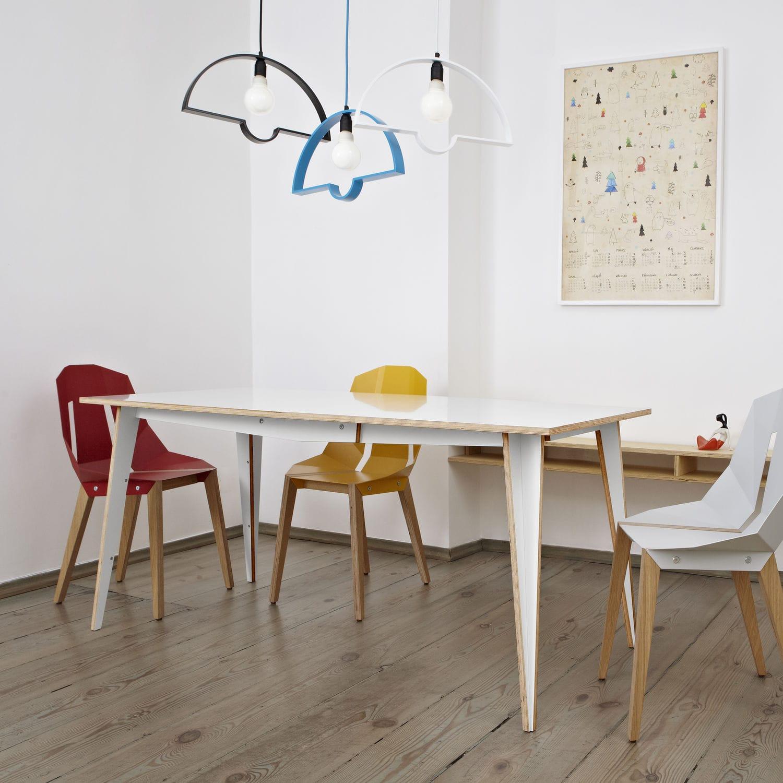 contemporary dining table / birch / plywood / hexagonal - maciek