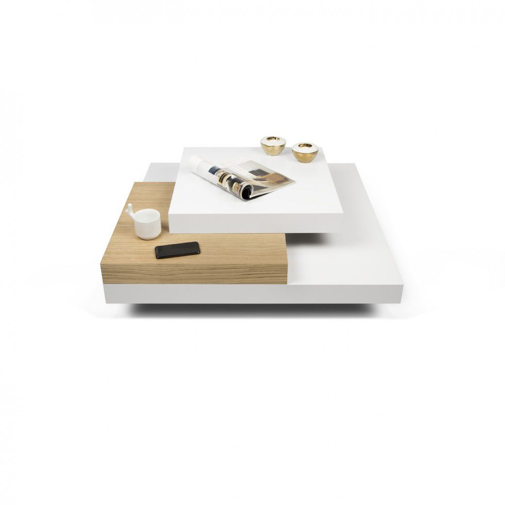 Contemporary Coffee Table Lacquered Wood Square White Slate