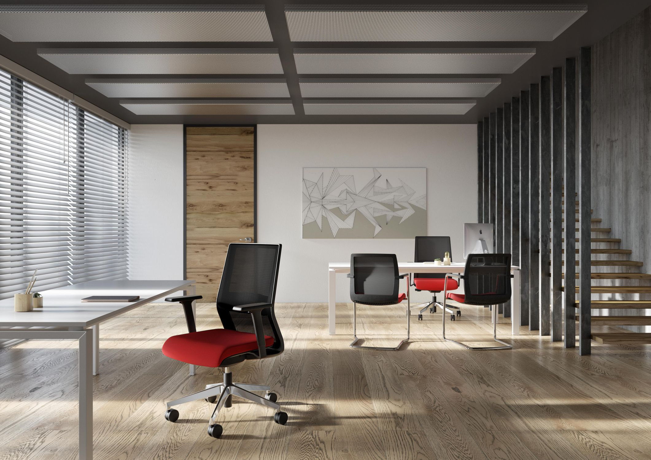 Charming ... Contemporary Office Armchair / Mesh / On Casters / With Headrest ...