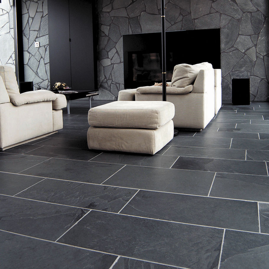 Indoor Tile Living Room Floor Natural Stone Ardosia Rubicer