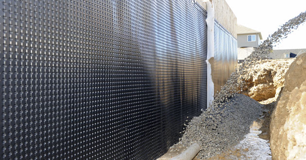 Foundation Drainage Waterproofing Membrane For Walls Roll High Density Polyethylene Hdpe