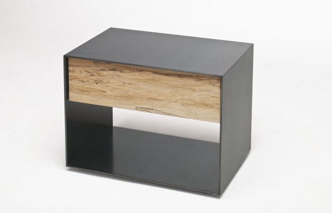 Contemporary Bedside Table Wooden Metal Rectangular Tod Von - Steel and wood side table