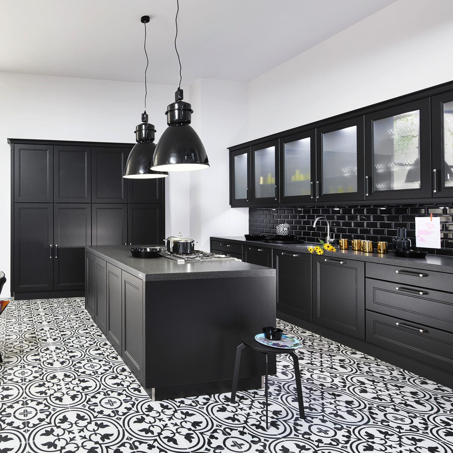 Contemporary Kitchen Lacquered Wood Island With Handles