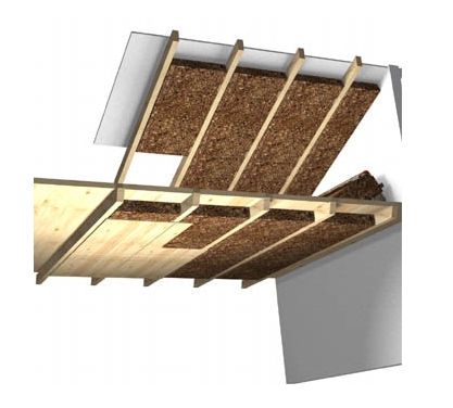 Thermal acoustic insulation cork wall for roofs TERMACORK