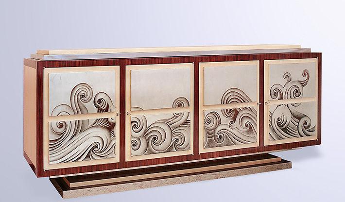 Art Deco sideboard / wooden / custom - WAVES - Fort Royal