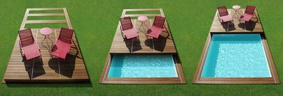 Flat swimming pool enclosure / wooden / manual. ROLLING DECK PISCINELLE