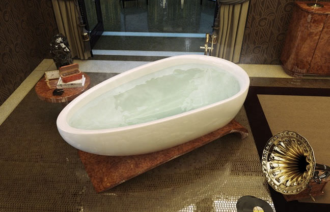 Free-standing bathtub / oval / acrylic - VIAGGI - MAAX bathroom