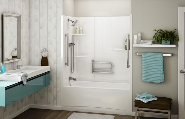 Builtin Bathtubshower Combination  Rectangular  Acrylic - Acrylic shower tub combo