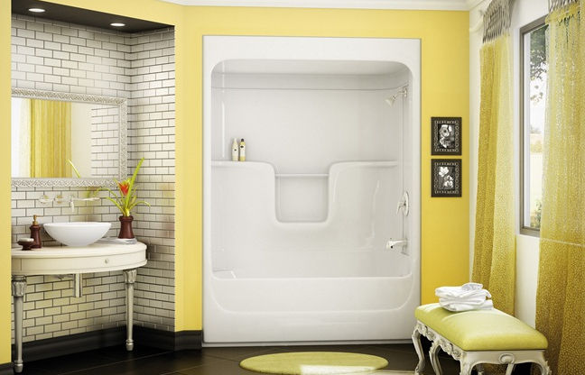 Built-in bathtub-shower combination / rectangular / acrylic ...