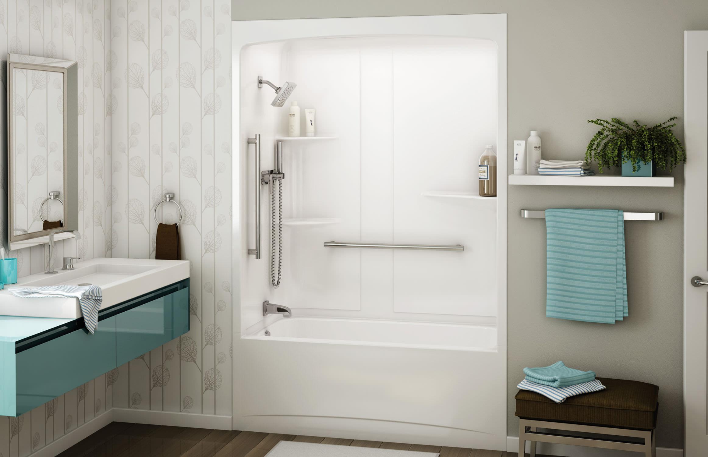 Acrylic Tub Shower Combo Figaro II Alcove Or Tub Showers Bathtub - Alcove tub shower combo