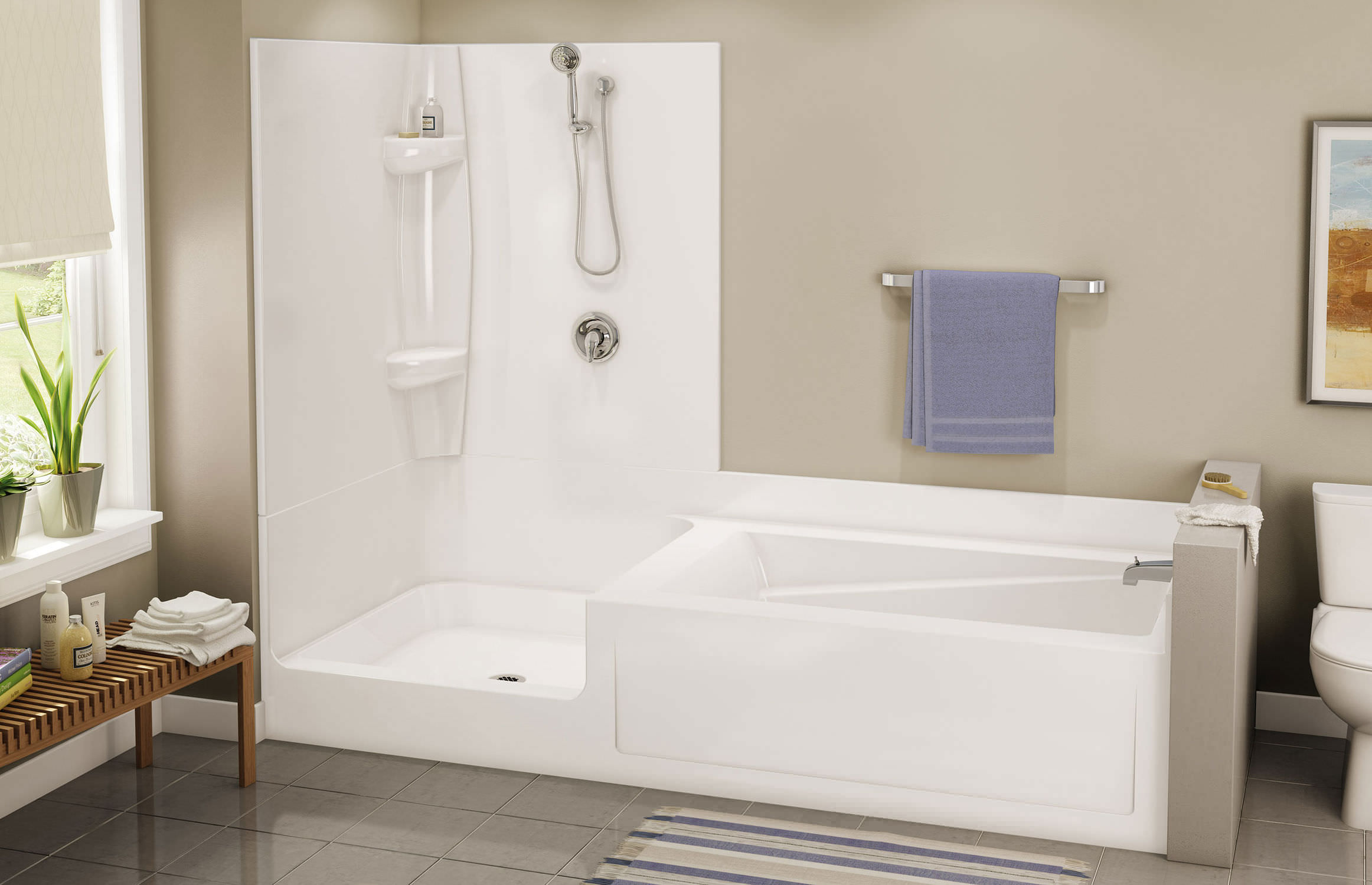 Acrylic Tub Shower Units. Built in bathtub shower combination  rectangular acrylic EXHIBIT TSC 102
