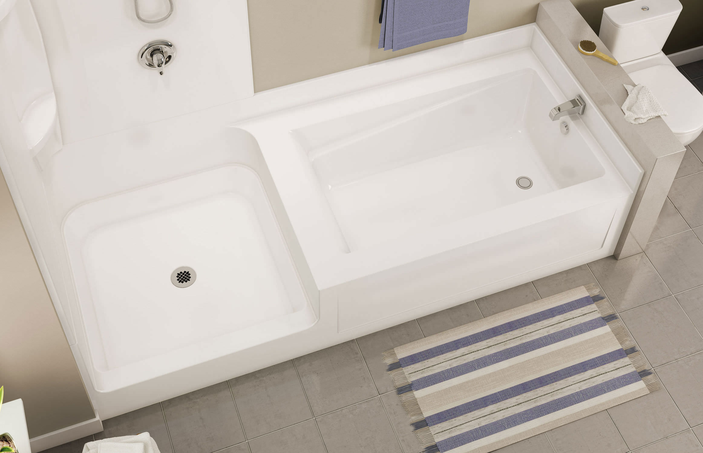 Built-in bathtub-shower combination / rectangular / acrylic ...