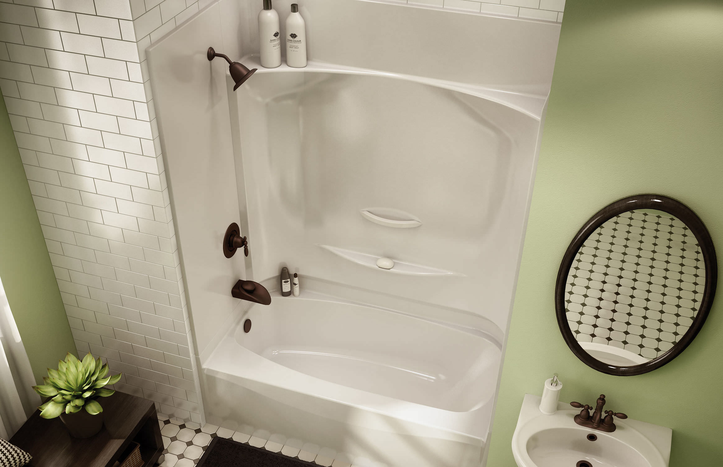 Built-in bathtub-shower combination / rectangular / acrylic - KDTS ...