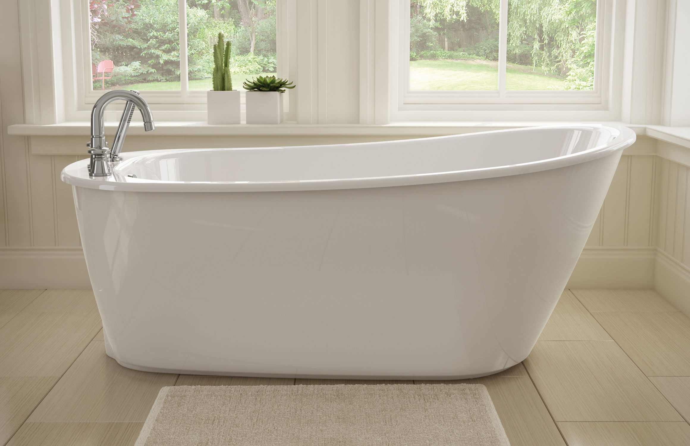 Freestanding Bathtub Oval Acrylic SAX MAAX Bathroom. Freestanding Tub Deck  Mount Faucet.