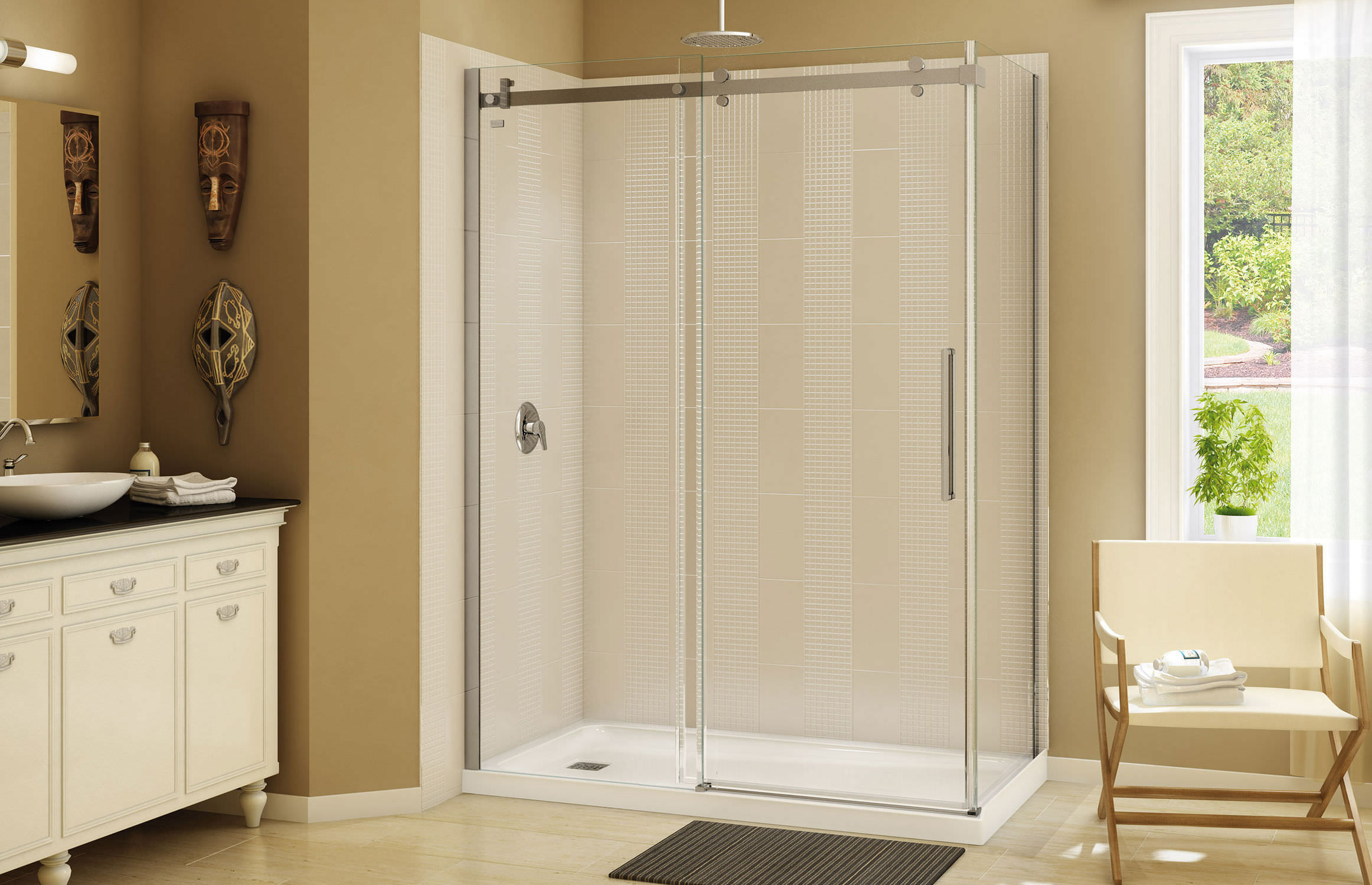 Rectangular shower base / acrylic - OLYMPIA SQUARE 60 - MAAX bathroom