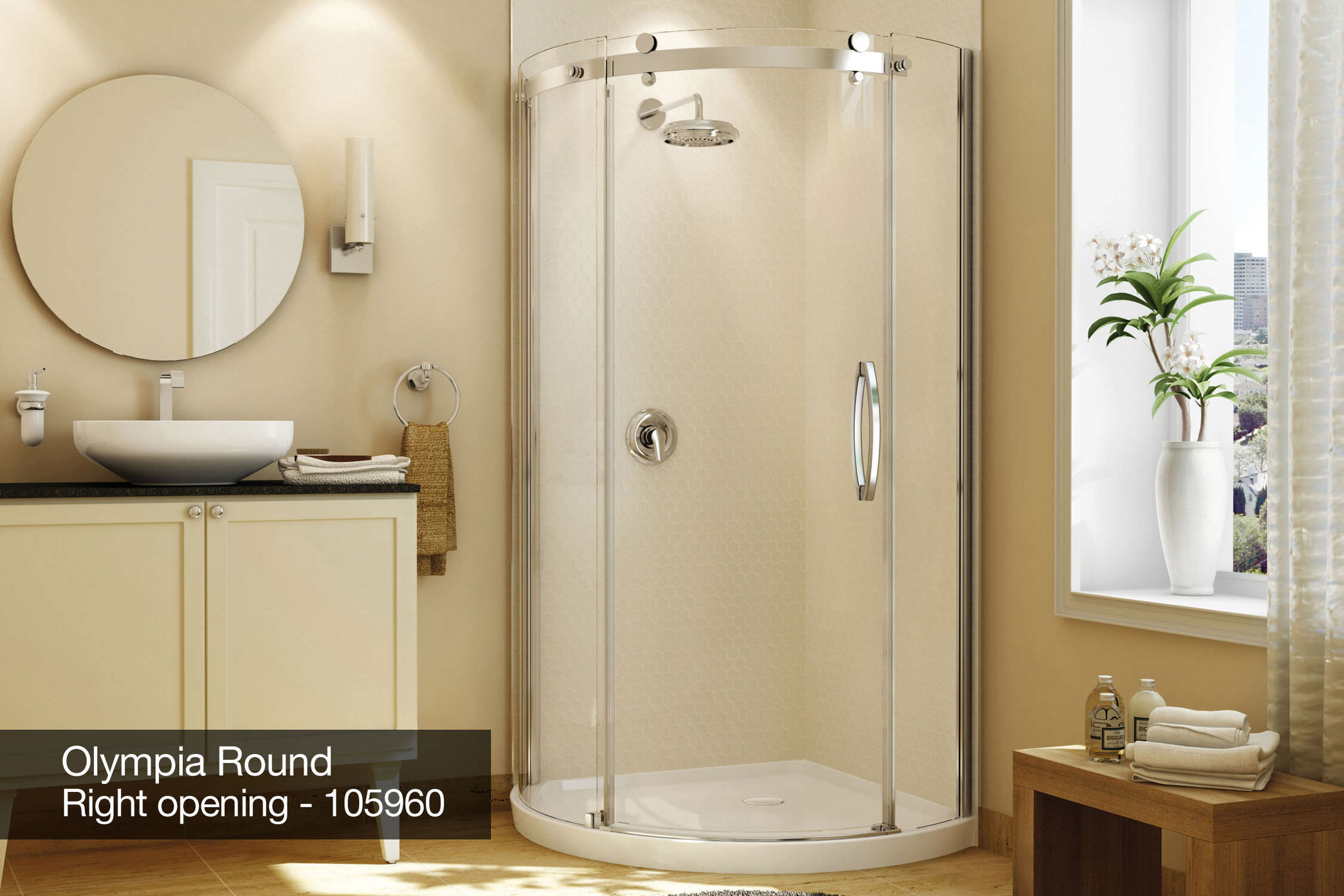 Acrylic shower cubicle / round / with hinged door - OLYMPIA - MAAX ...