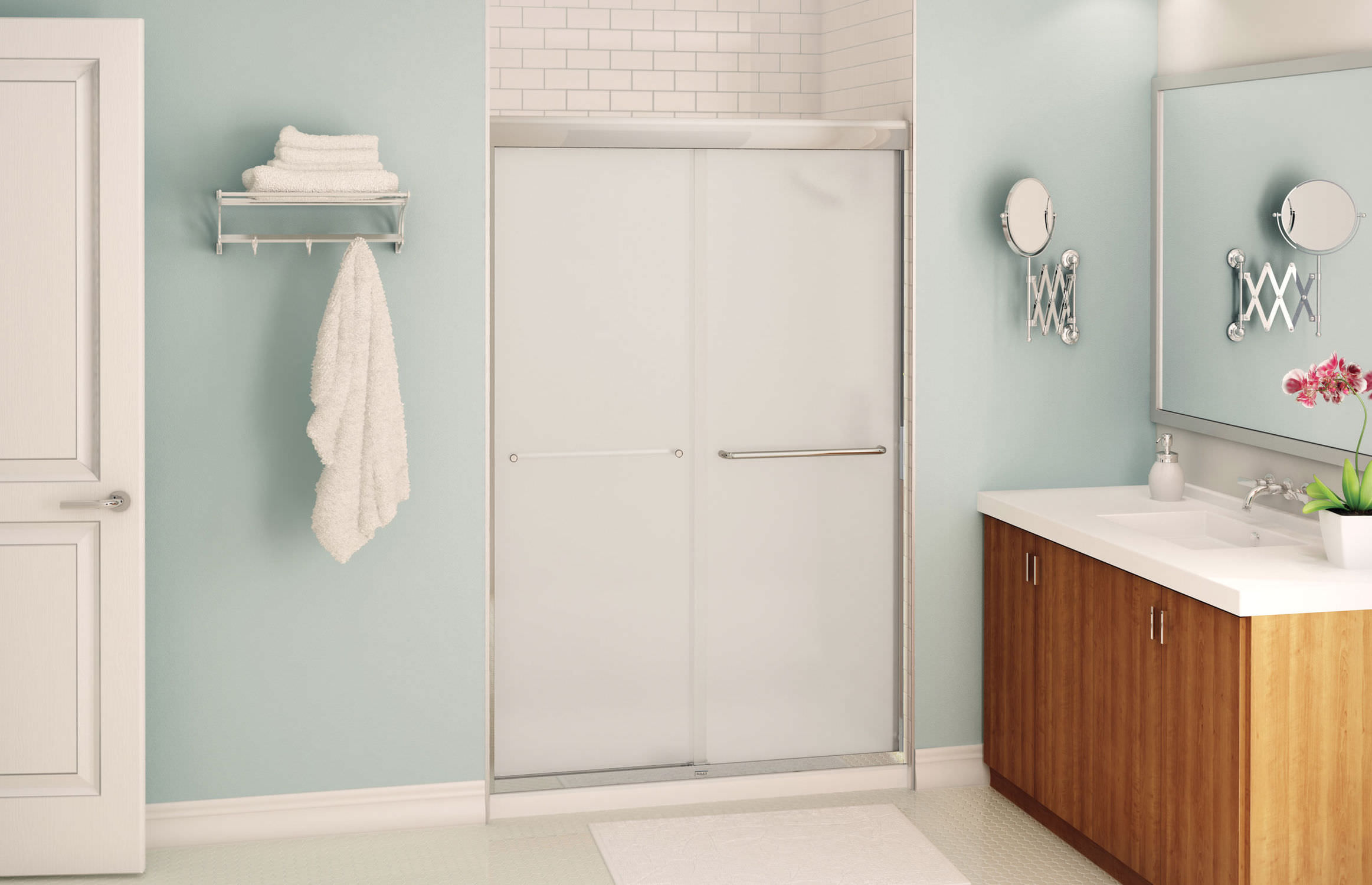 Sliding shower screen -  Sliding Shower Screen For Alcoves Aura Maax Bathroom