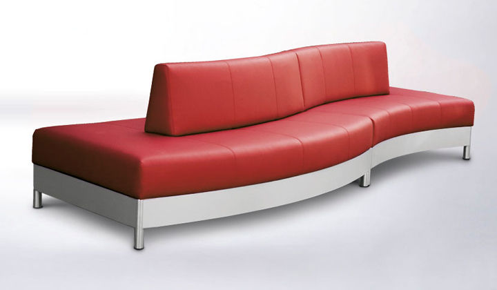 Good Contemporary Sofa / Leather / Stainless Steel / For Public Buildings    QUADRO