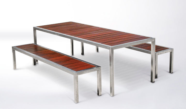 Contemporary Bench And Table Set Metal Wooden Outdoor - Stainless steel picnic table