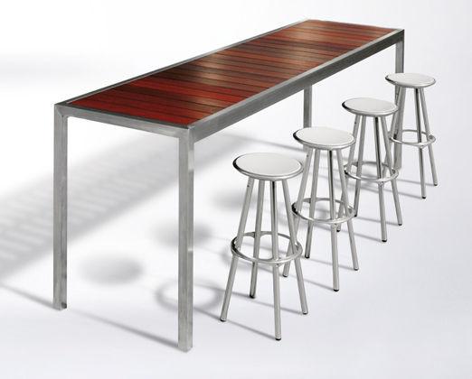 Contemporary High Bar Table Wooden Stainless Steel Rectangular Alfresco