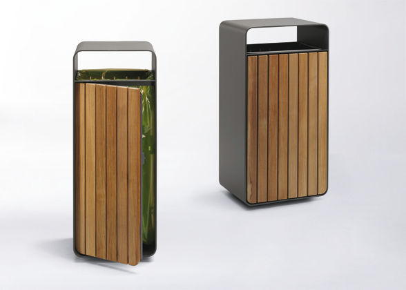 Public Trash Can Sheet Steel Wooden Contemporary Box