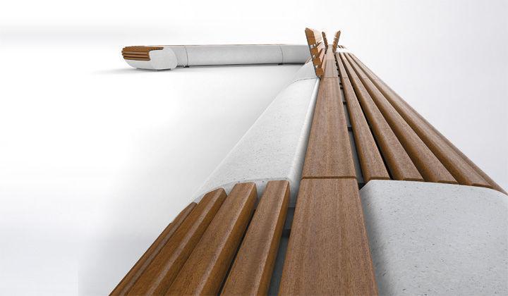Urban Furniture Design public bench / original design / wooden / granite - lorenz