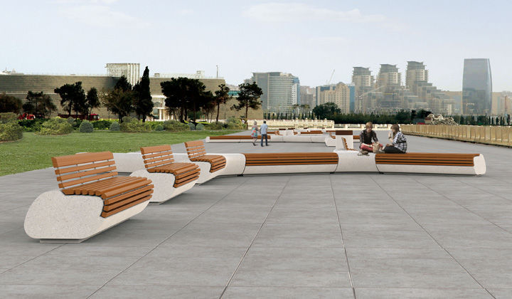Public Bench Original Design Wooden Granite Lorenz