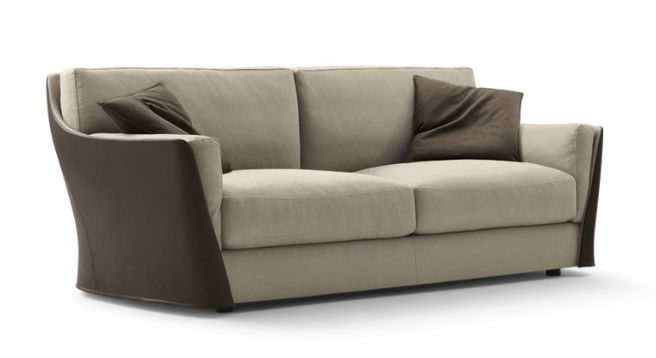 Contemporary Sofa Fabric Leather Contract