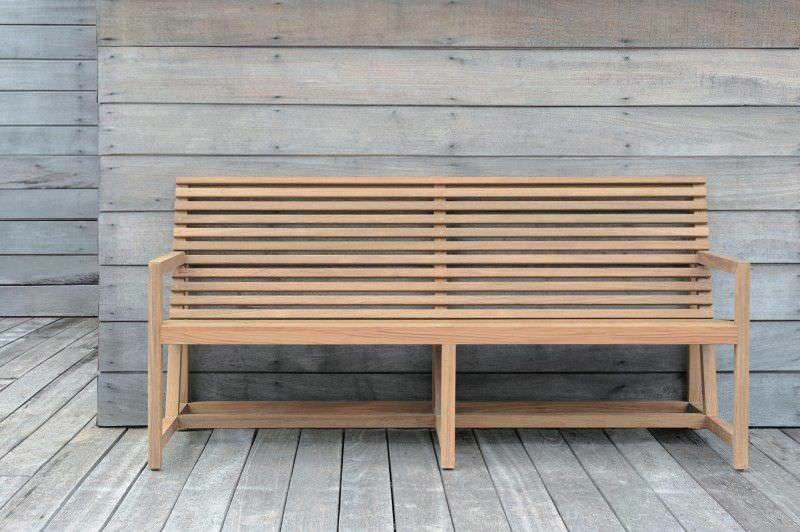 Garden bench contemporary teak with backrest TECTO Tectona