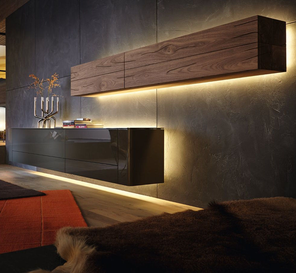 Contemporary Living Room Wall Unit / Lacquered Wood   GENTIS