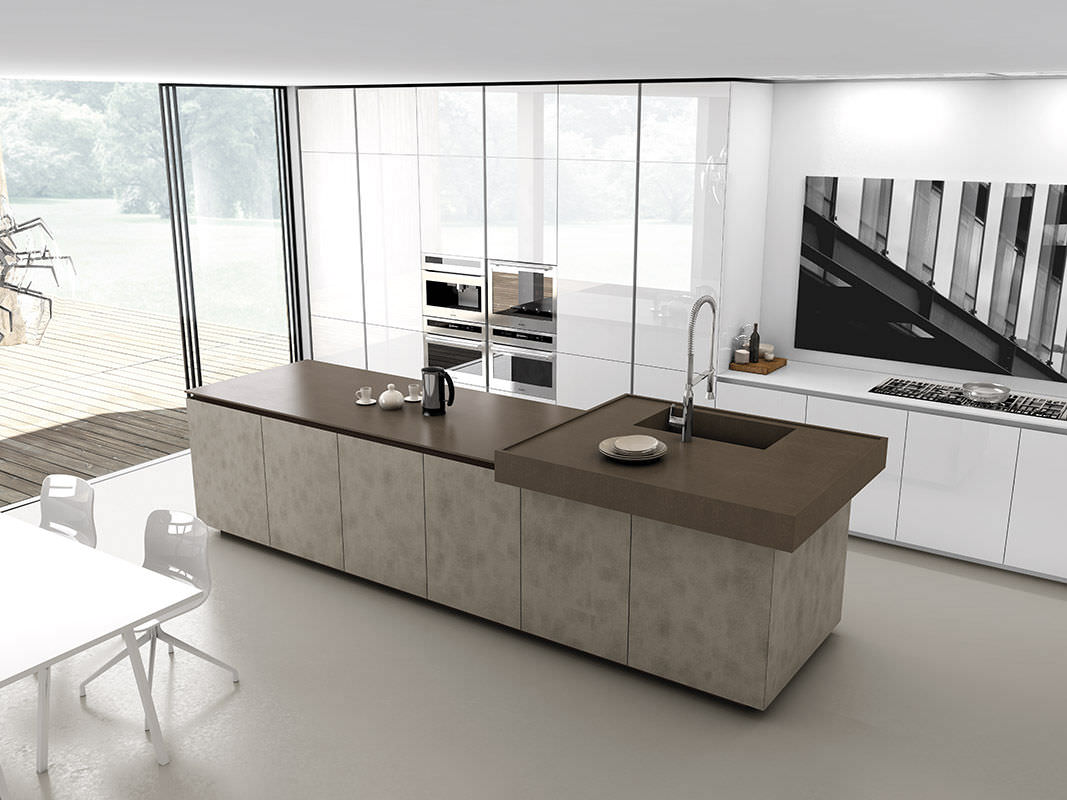Contemporary kitchen / wood veneer / island / lacquered - FILO by ... - Cuisine Comprex