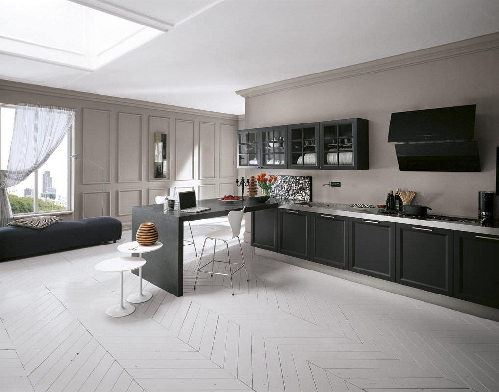 Contemporary kitchen / wood veneer - VINTAGE - COMPREX - Cuisine Comprex