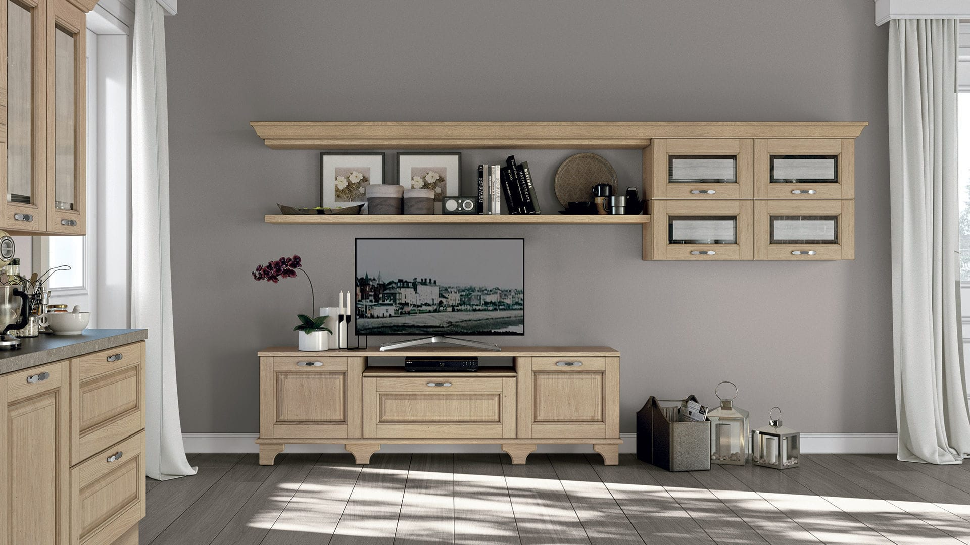 Traditional TV wall unit / wooden - LAURA - CUCINE LUBE