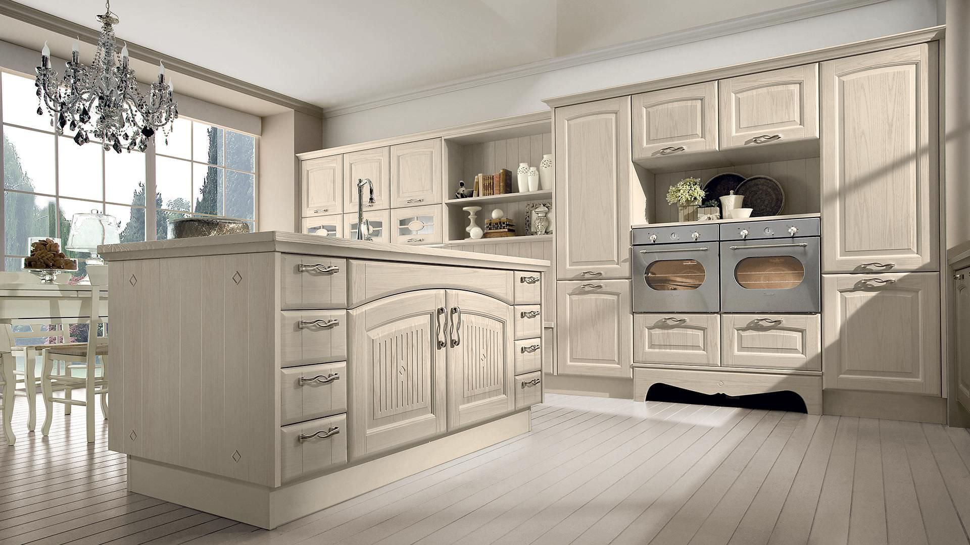 Traditional kitchen / solid wood / island / with handles - VERONICA ...