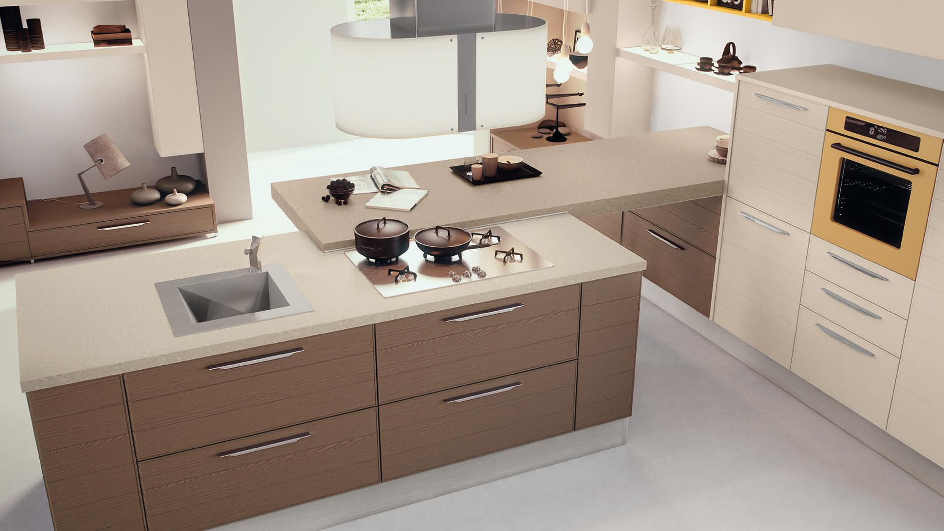 contemporary kitchen / wood veneer / island - adele - cucine lube ... - Cucina Lube Martina