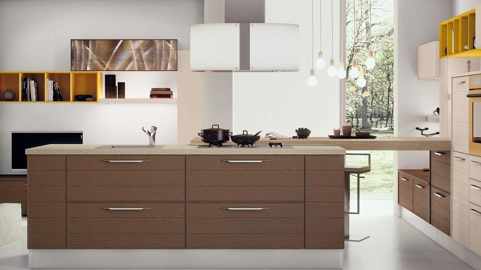 Contemporary kitchen / wood veneer / island - ADELE - CUCINE LUBE ...