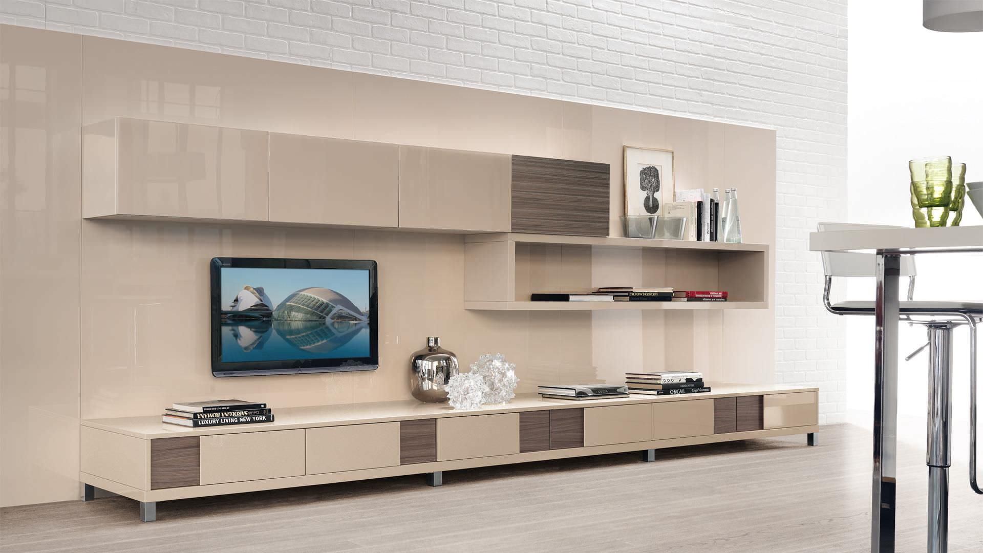 Contemporary TV wall unit / wooden / lacquered wood - CREATIVA ...