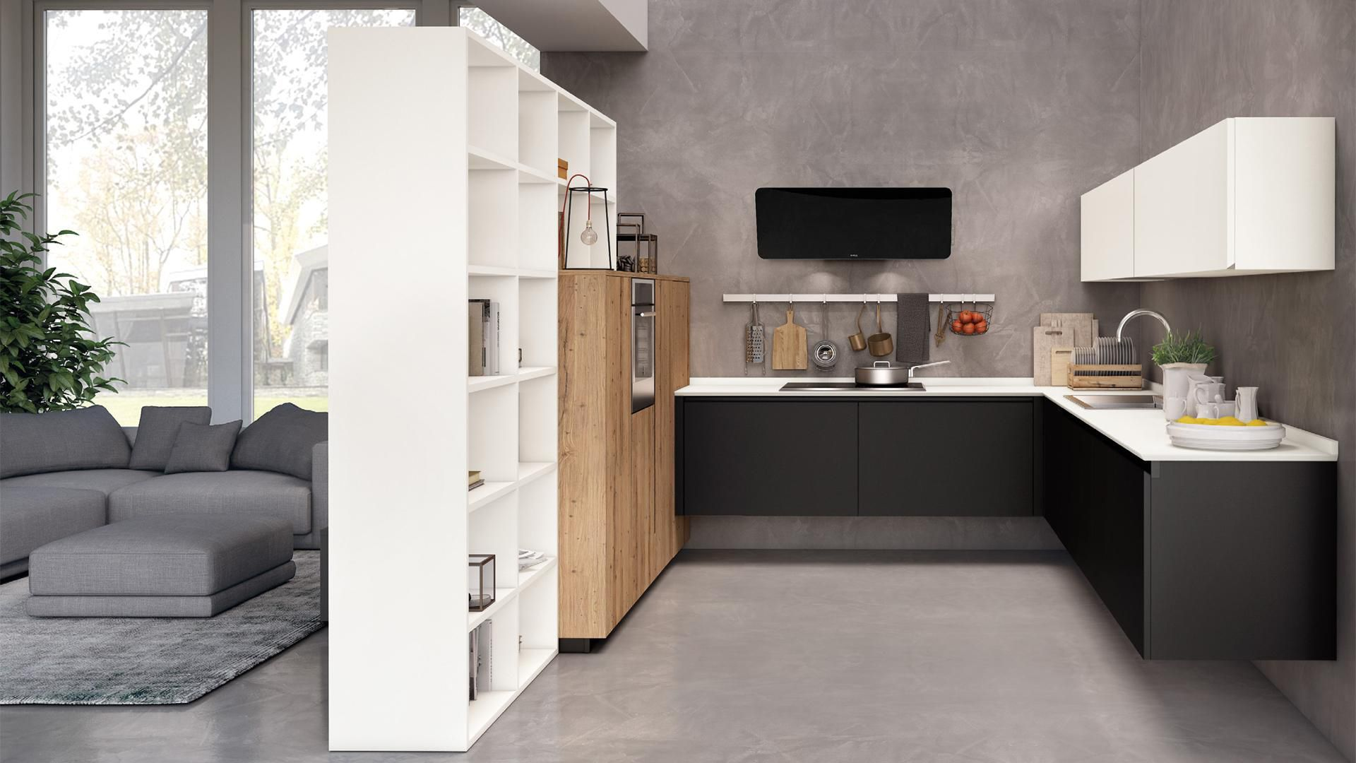 Contemporary Kitchen / Wooden / Matte / Lacquered   OLTRE