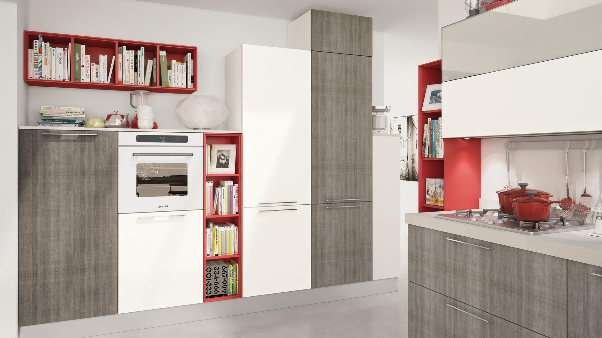 Contemporary kitchen / wood veneer / lacquered - NOEMI - CUCINE LUBE