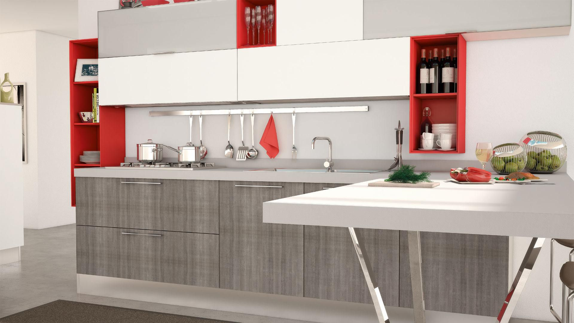 Contemporary kitchen / wood veneer / lacquered / with handles ...