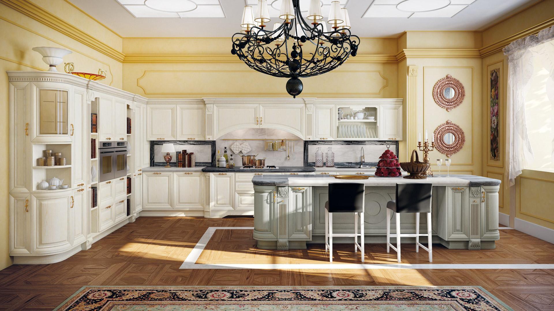 Traditional kitchen / wooden / island - PANTHEON - CUCINE LUBE